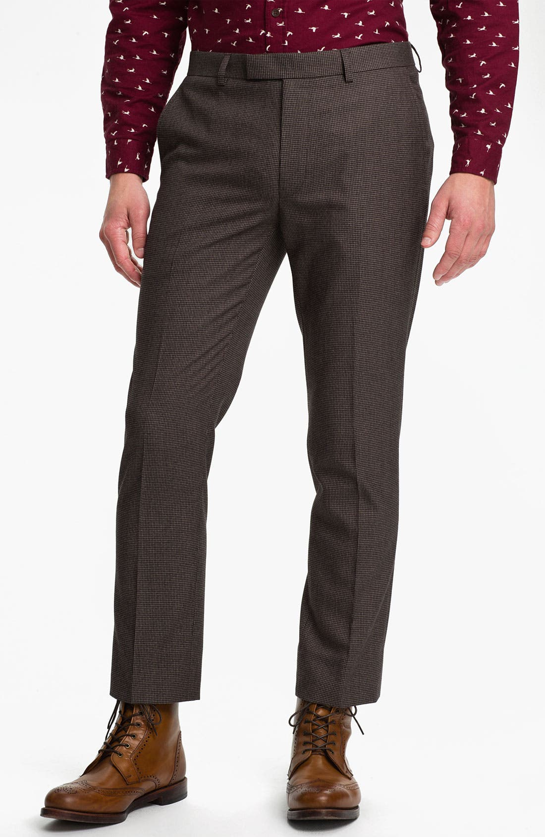 Alternate Image 1 Selected - Topman Skinny Fit Micro Houndstooth Trousers