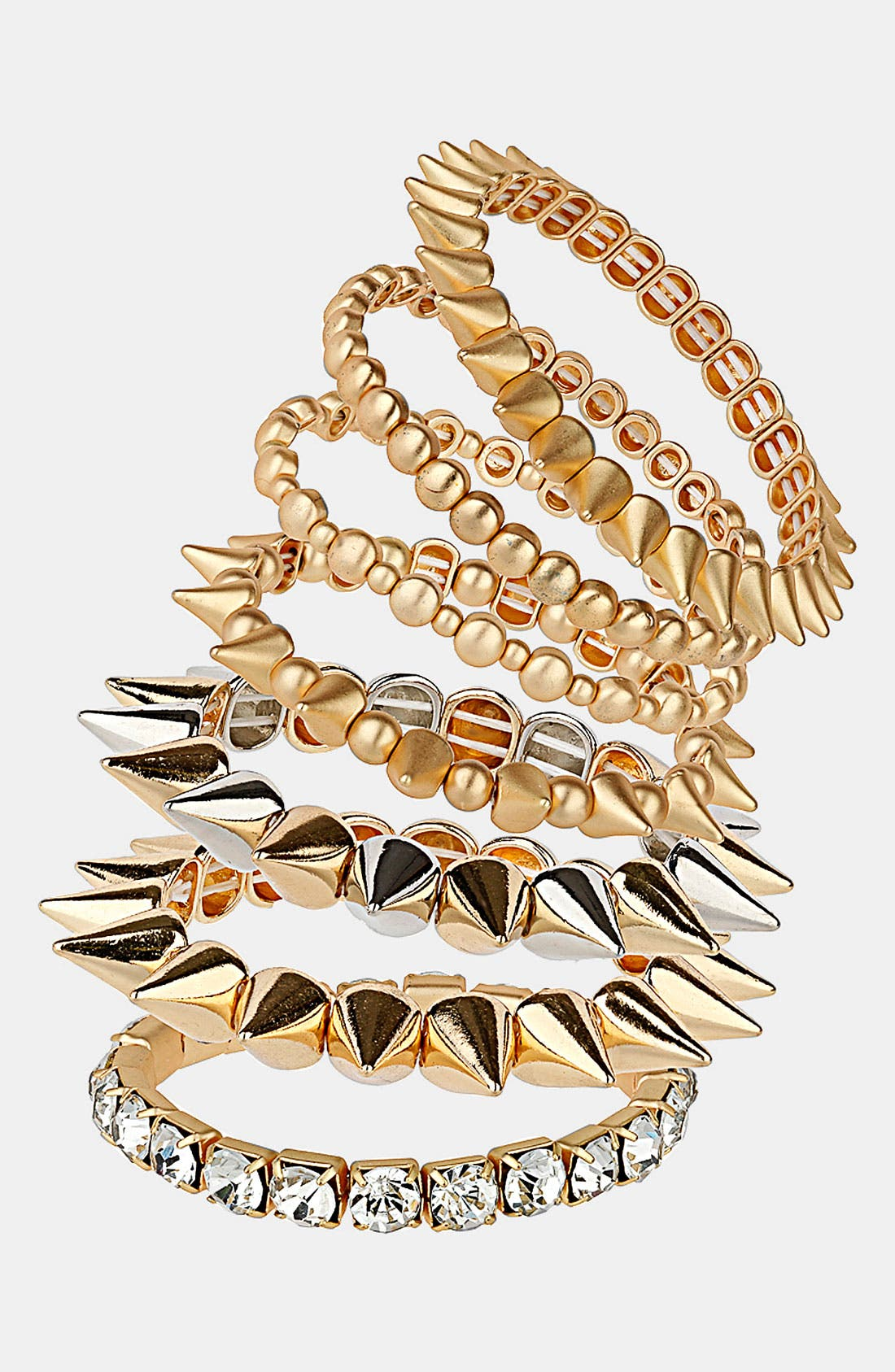 Alternate Image 1 Selected - Topshop Spike Stretch Bracelets (7-Pack)