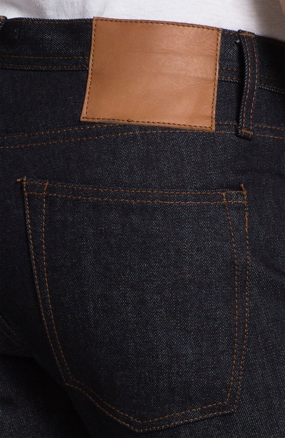 Alternate Image 4  - The Unbranded Brand UB101 Skinny Fit Raw Selvedge Jeans (Indigo)