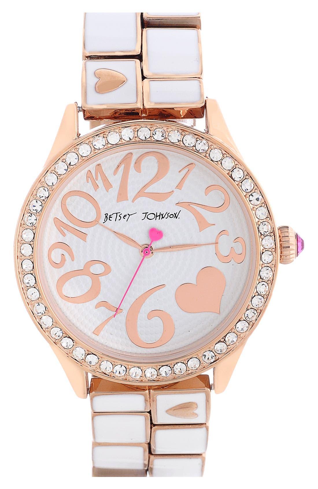 Main Image - Betsey Johnson Round Bracelet Watch, 42mm