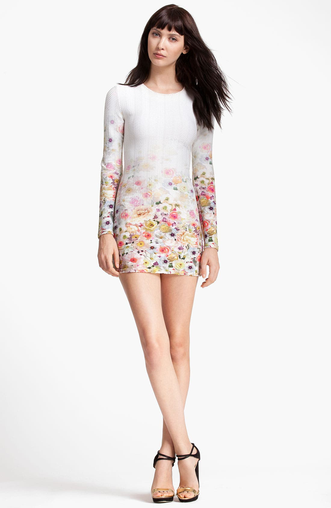 Main Image - MSGM Floral Print Sheath Minidress