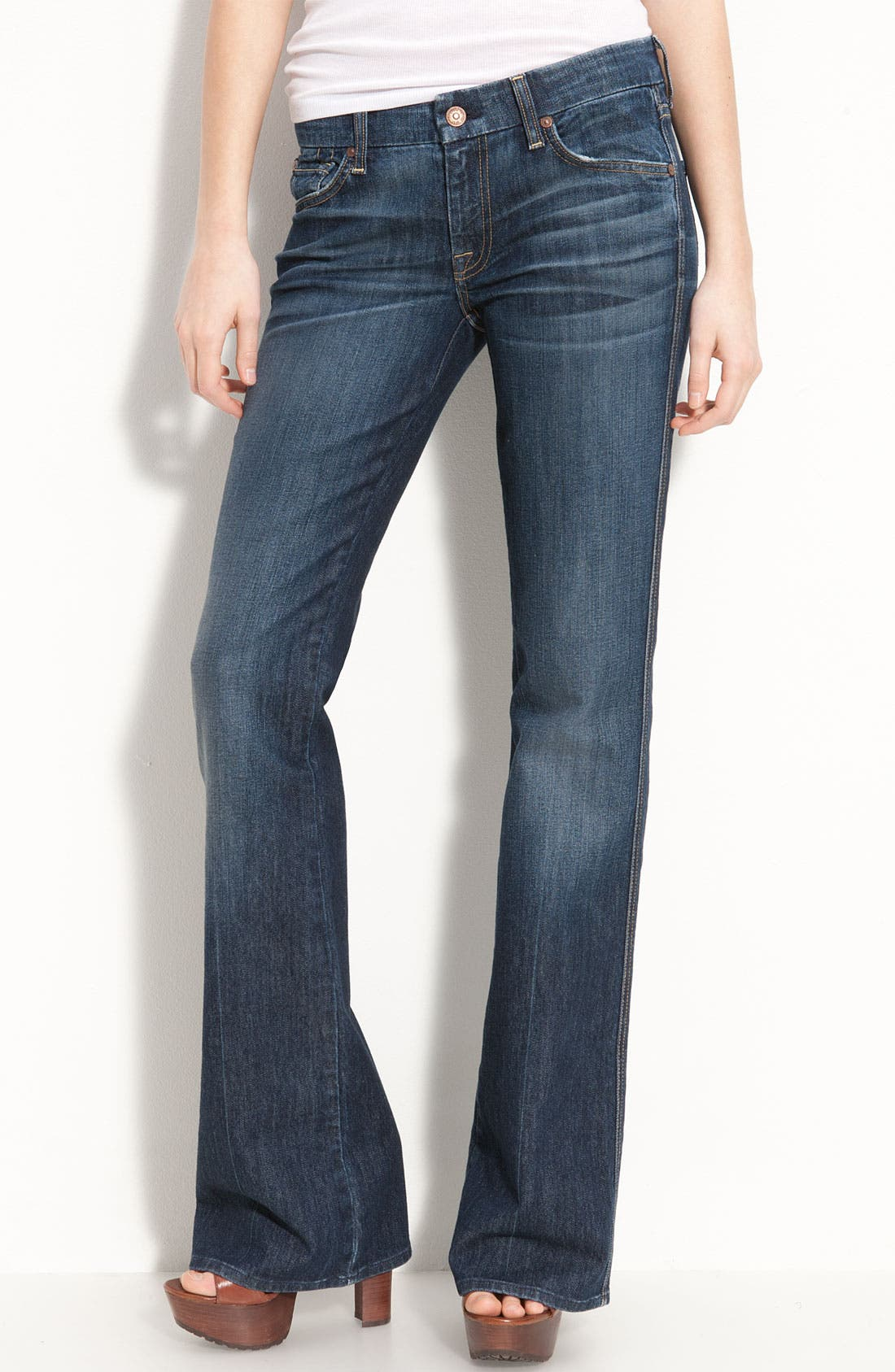 Main Image - 7 For All Mankind® Stretch Denim Bootcut Jeans (Nouveau New York) (Petite)