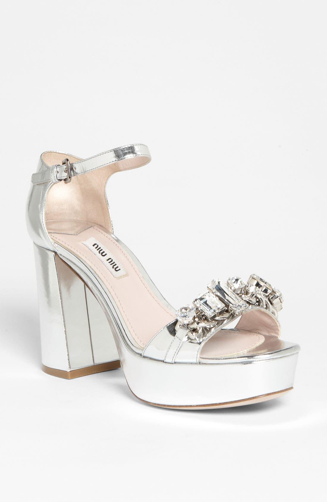 Main Image - Miu Miu Crystal Block Heel Sandal
