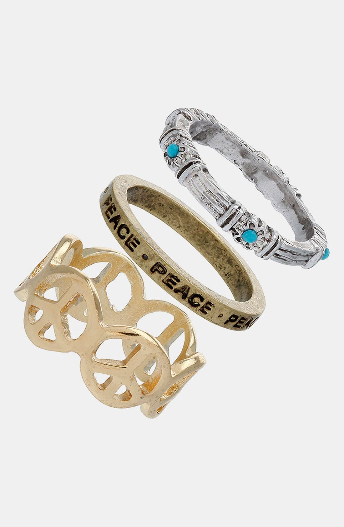Main Image - Topshop 'Peace' Stackable Rings (Set of 3)