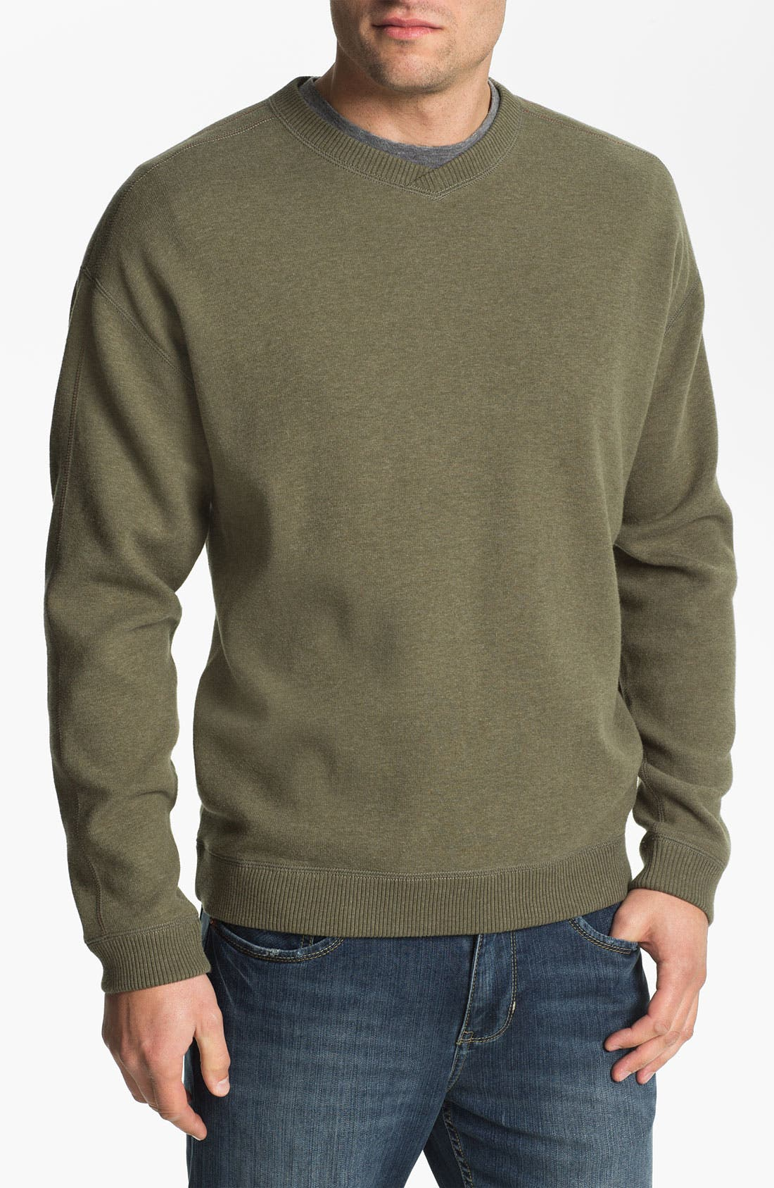 Main Image - Tommy Bahama 'Flip Side Pro' Fleece V-Neck Sweatshirt (Big & Tall)