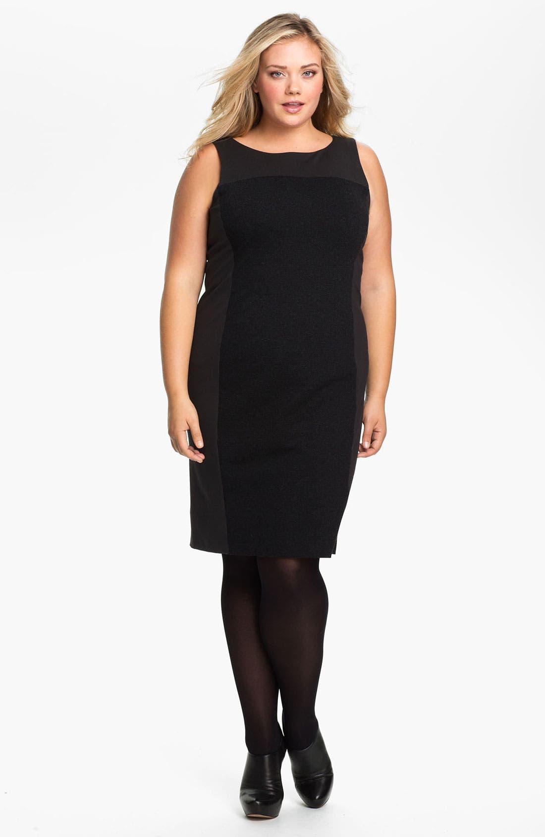 Main Image - Eileen Fisher Colorblock Sleeveless Ponte Knit Sheath Dress (Plus)