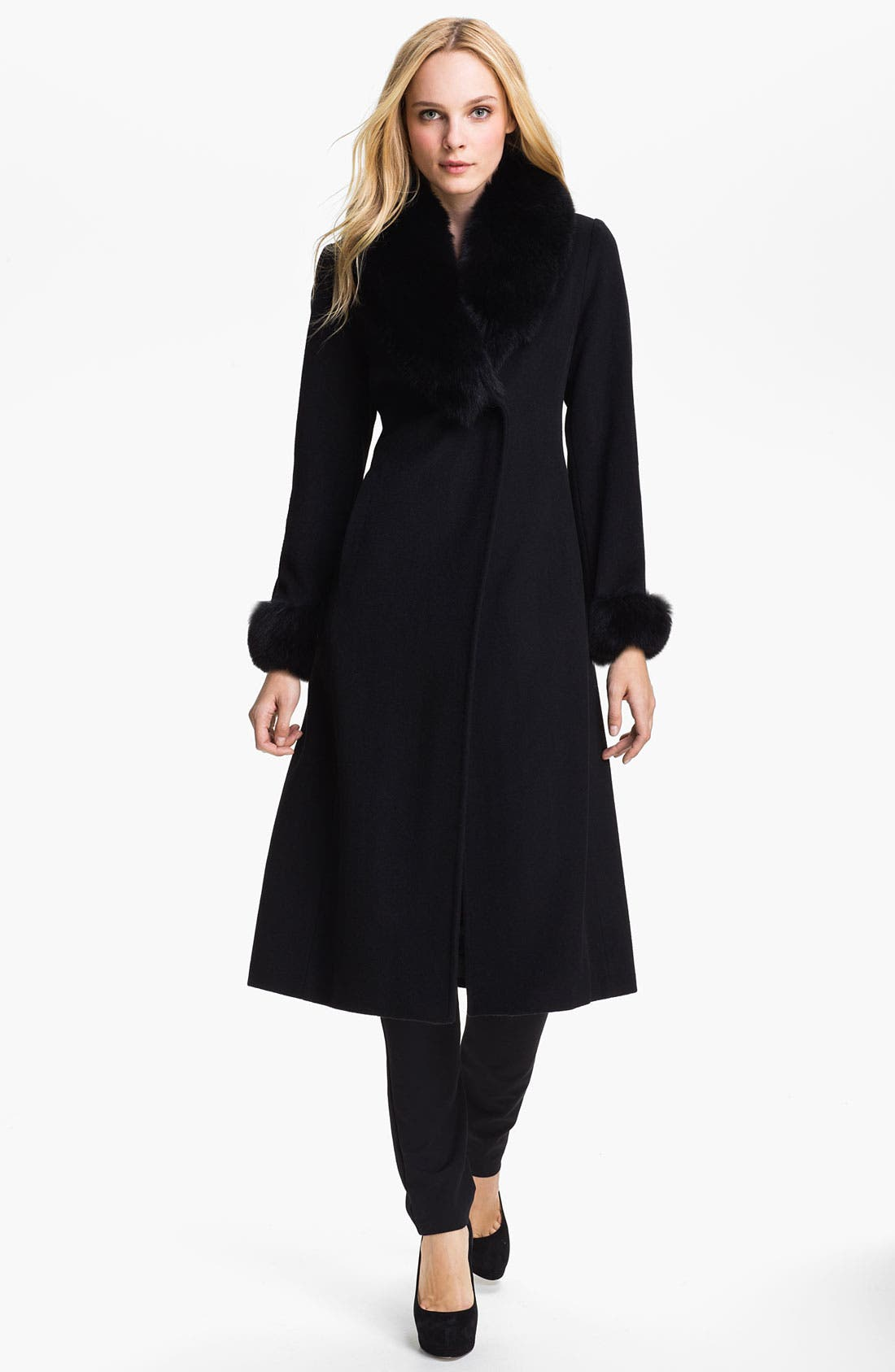 Main Image - Ellen Tracy Genuine Fox Fur Trim Wrap Coat (Petite)