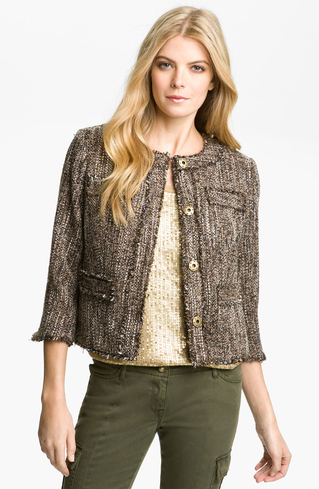 Alternate Image 1 Selected - MICHAEL Michael Kors Tweed Knit Jacket (Petite)