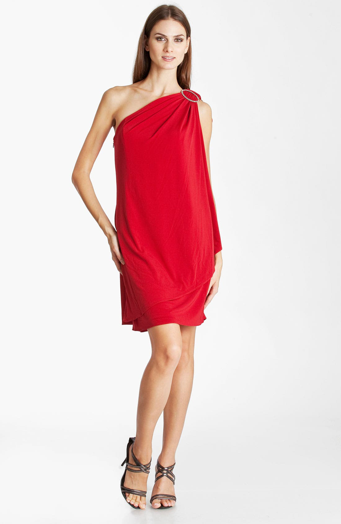 Main Image - JS Boutique One Shoulder Draped Jersey Dress