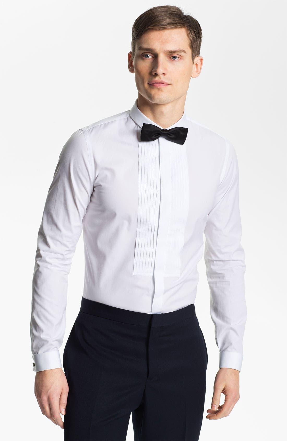Main Image - Burberry Prorsum Cotton Poplin Tuxedo Shirt