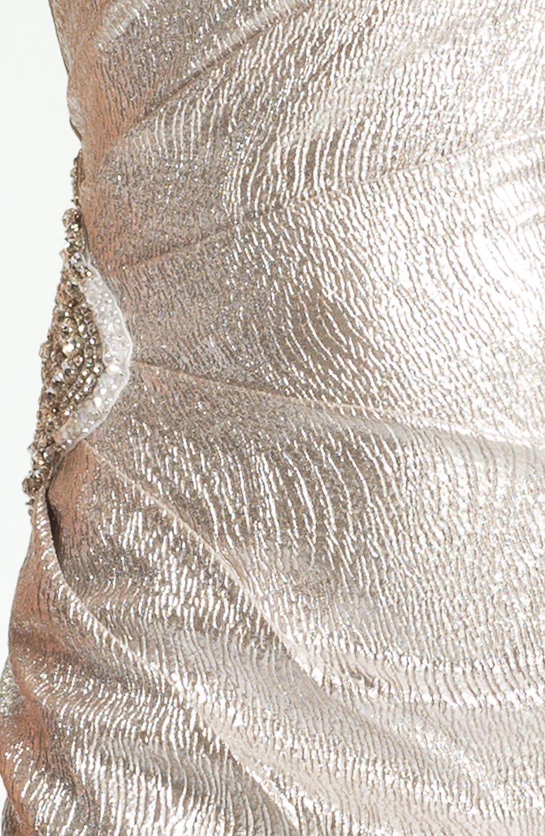 Alternate Image 3  - Eliza J One Shoulder Beaded Patch Metallic Sheath Dress
