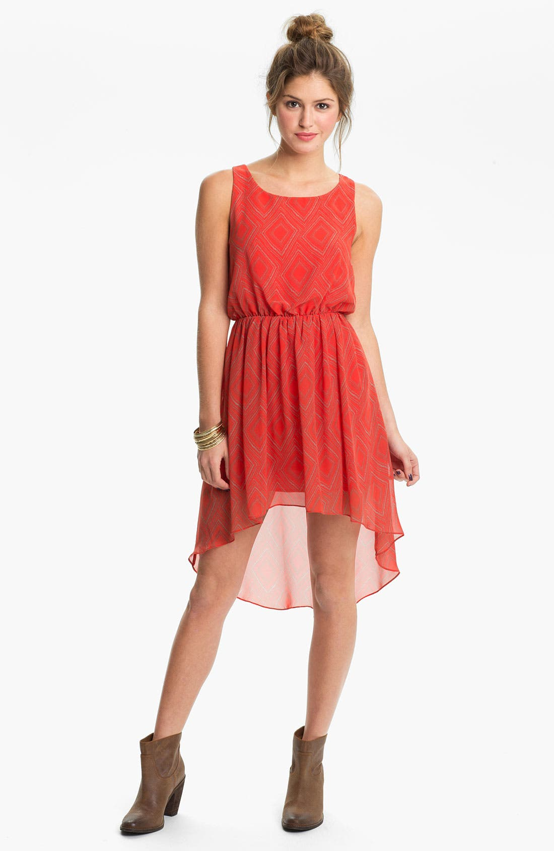 Main Image - Soprano High/Low Print Chiffon Dress (Juniors)