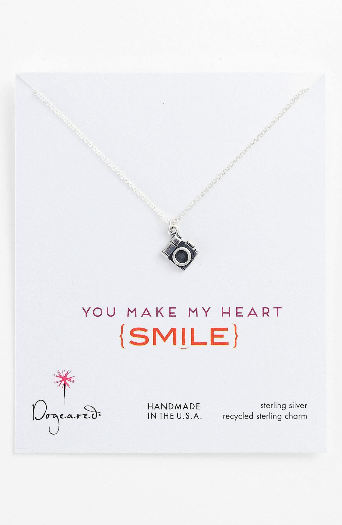 Main Image - Dogeared 'Make My Heart Smile' Camera Pendant Necklace