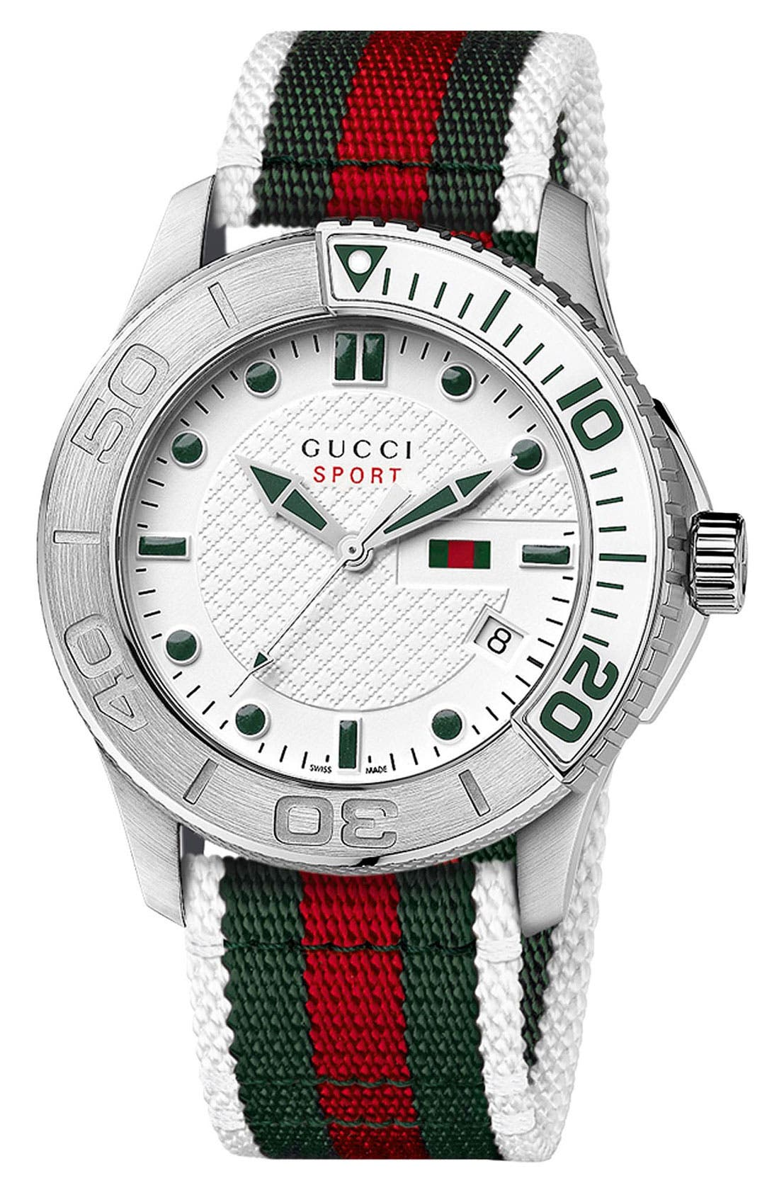 Alternate Image 1 Selected - Gucci 'G Timeless' Nylon Strap Watch