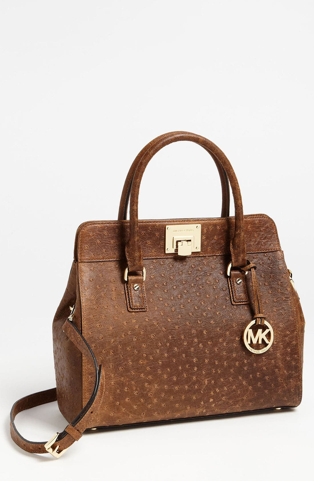 Main Image - MICHAEL Michael Kors 'Astrid - Large' Ostrich Embossed Leather Satchel