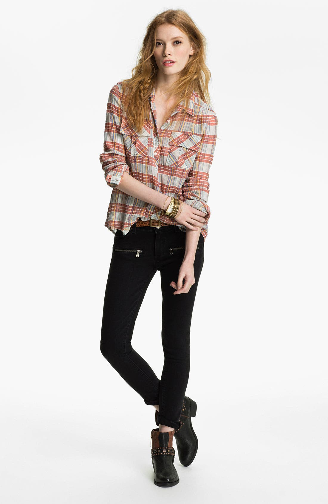 Main Image - Free People Shirt & Paige Jeans