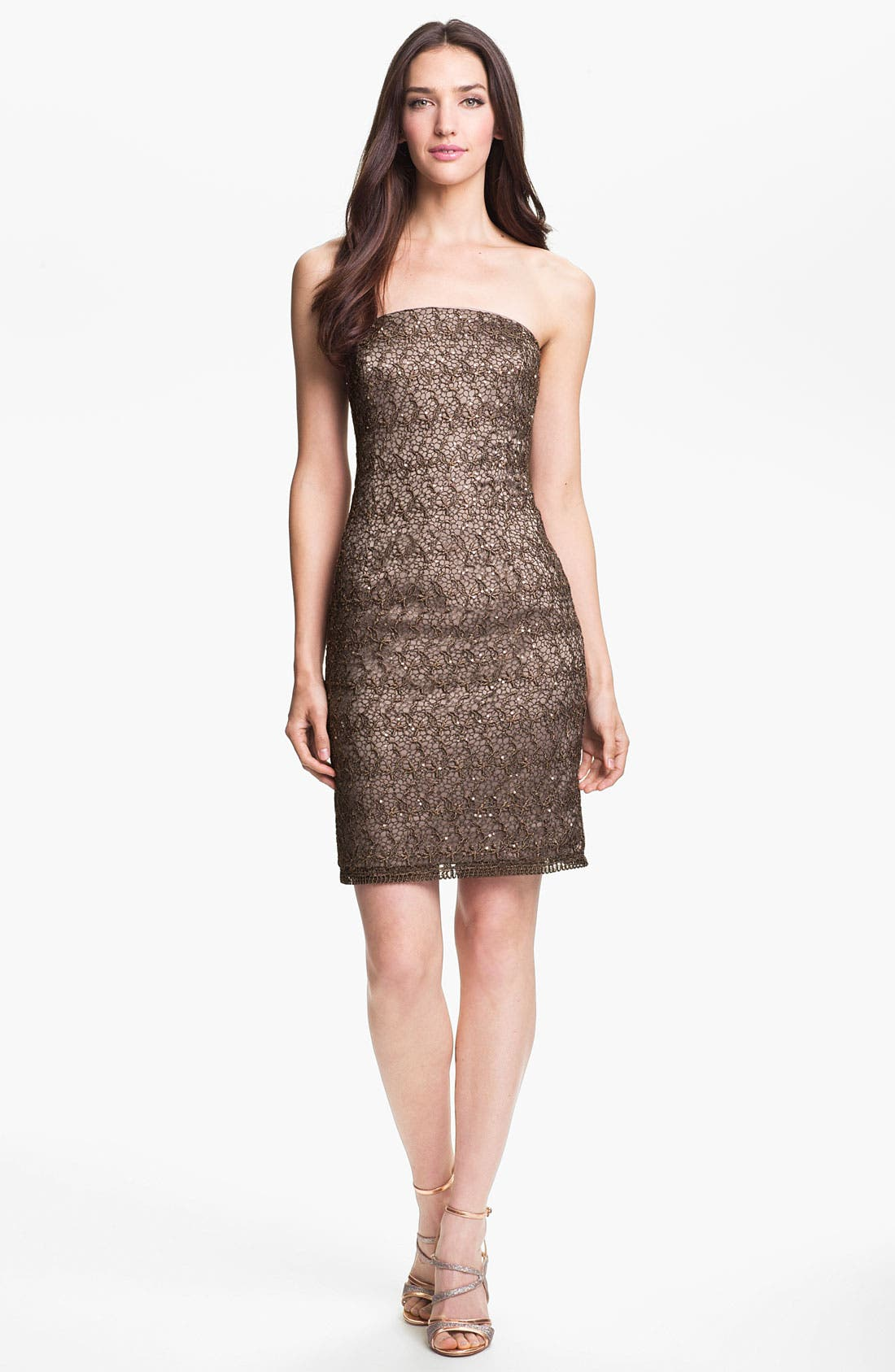 Main Image - Adrianna Papell Strapless Sequin & Lace Sheath Dress