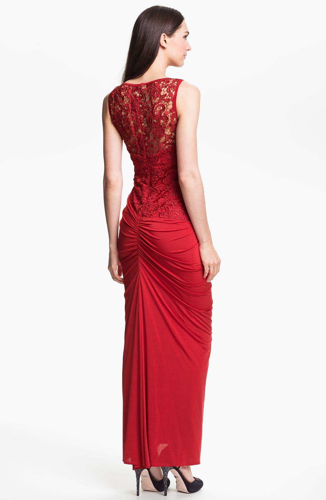 Alternate Image 2  - Jessica McClintock Illusion Yoke Side Slit Jersey Gown