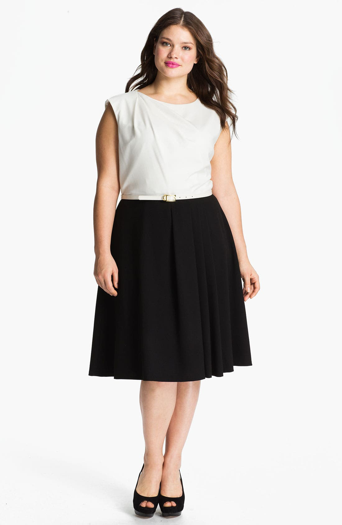 Main Image - Calvin Klein Belted A-Line Dress (Plus)