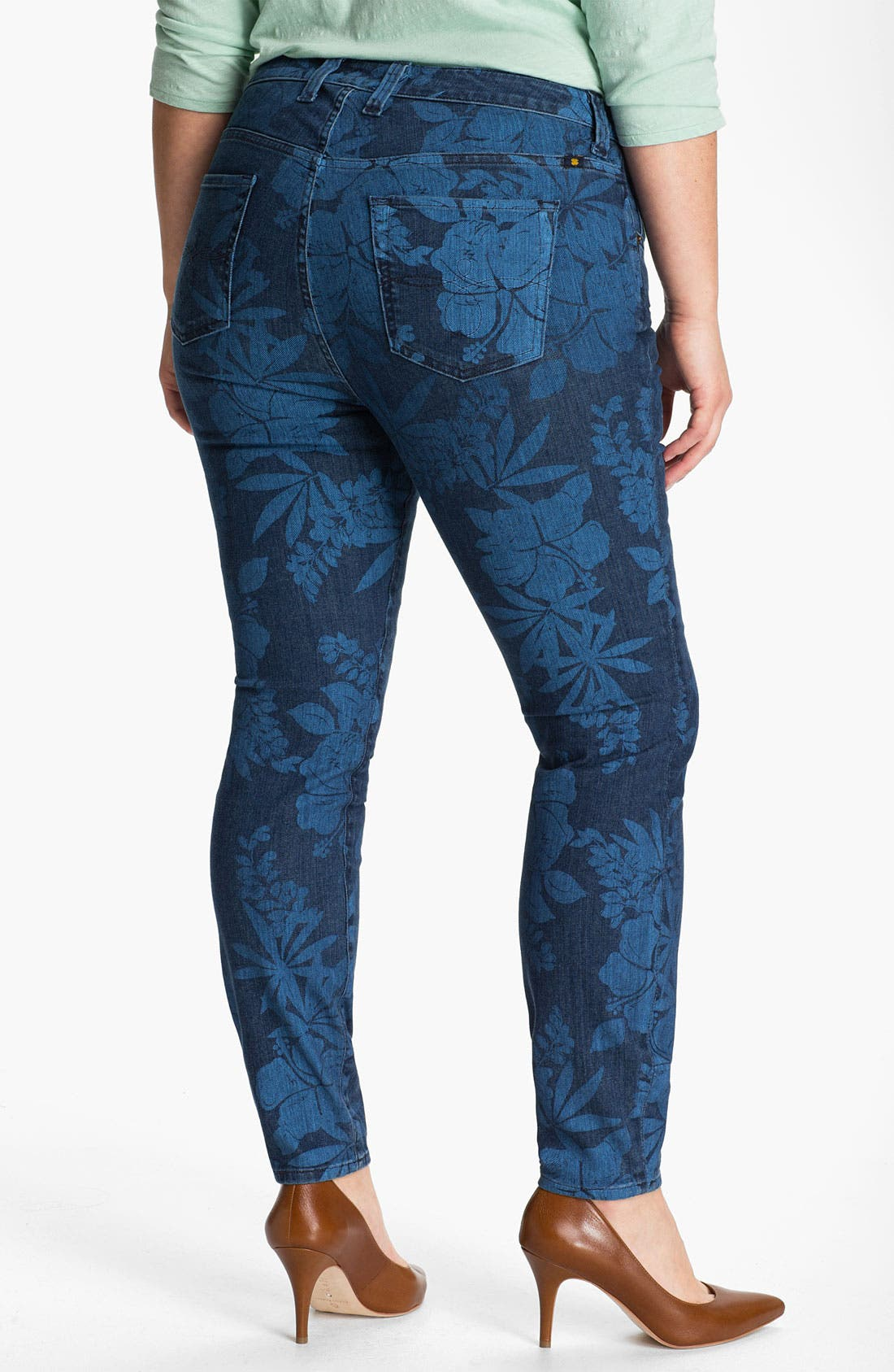 Alternate Image 2  - Lucky Brand 'Ginger' Print Skinny Jeans (Plus)
