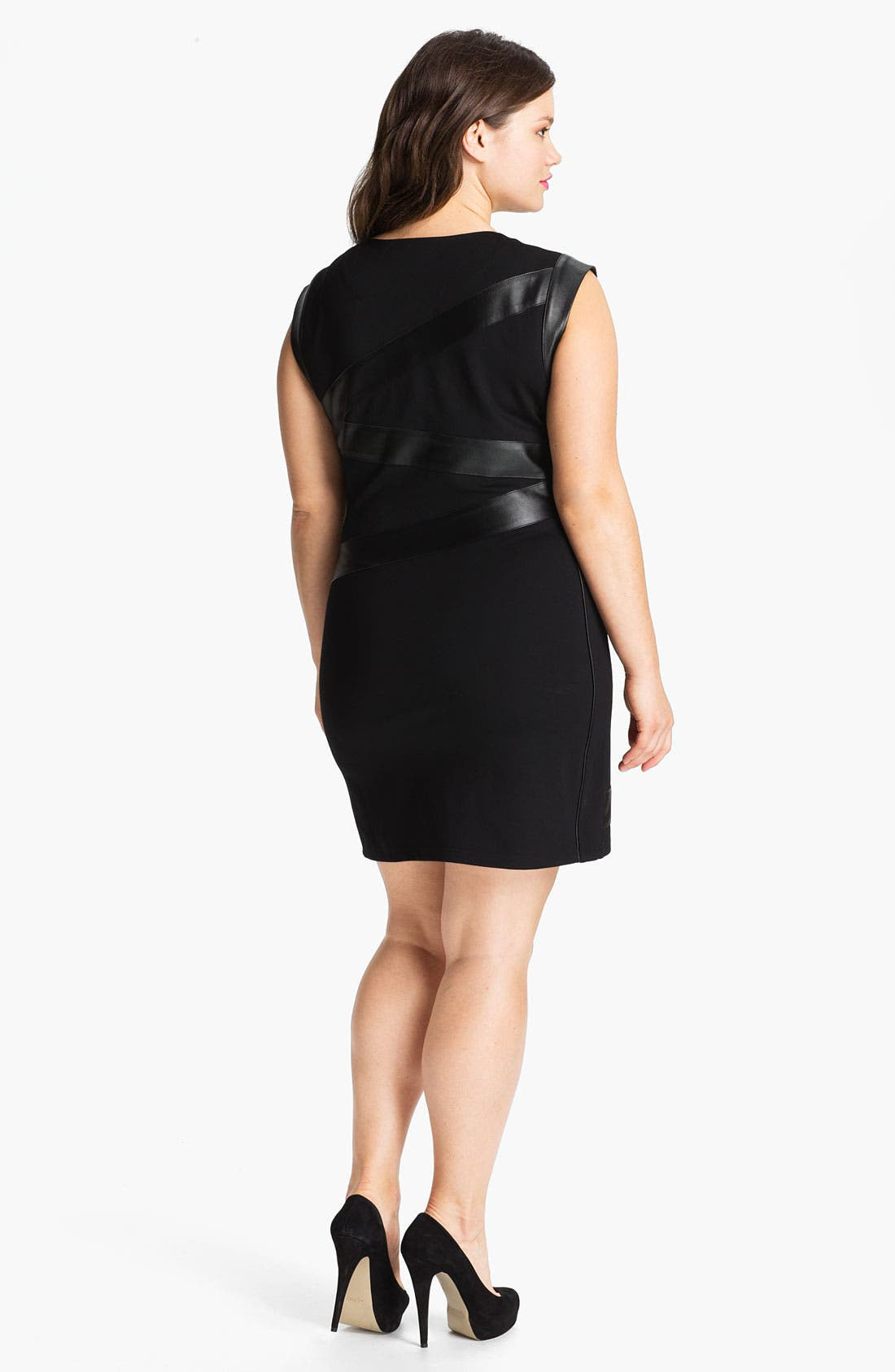 Alternate Image 2  - Sheri Bodell Faux Leather Wrapped Ponte Sheath Dress (Plus)
