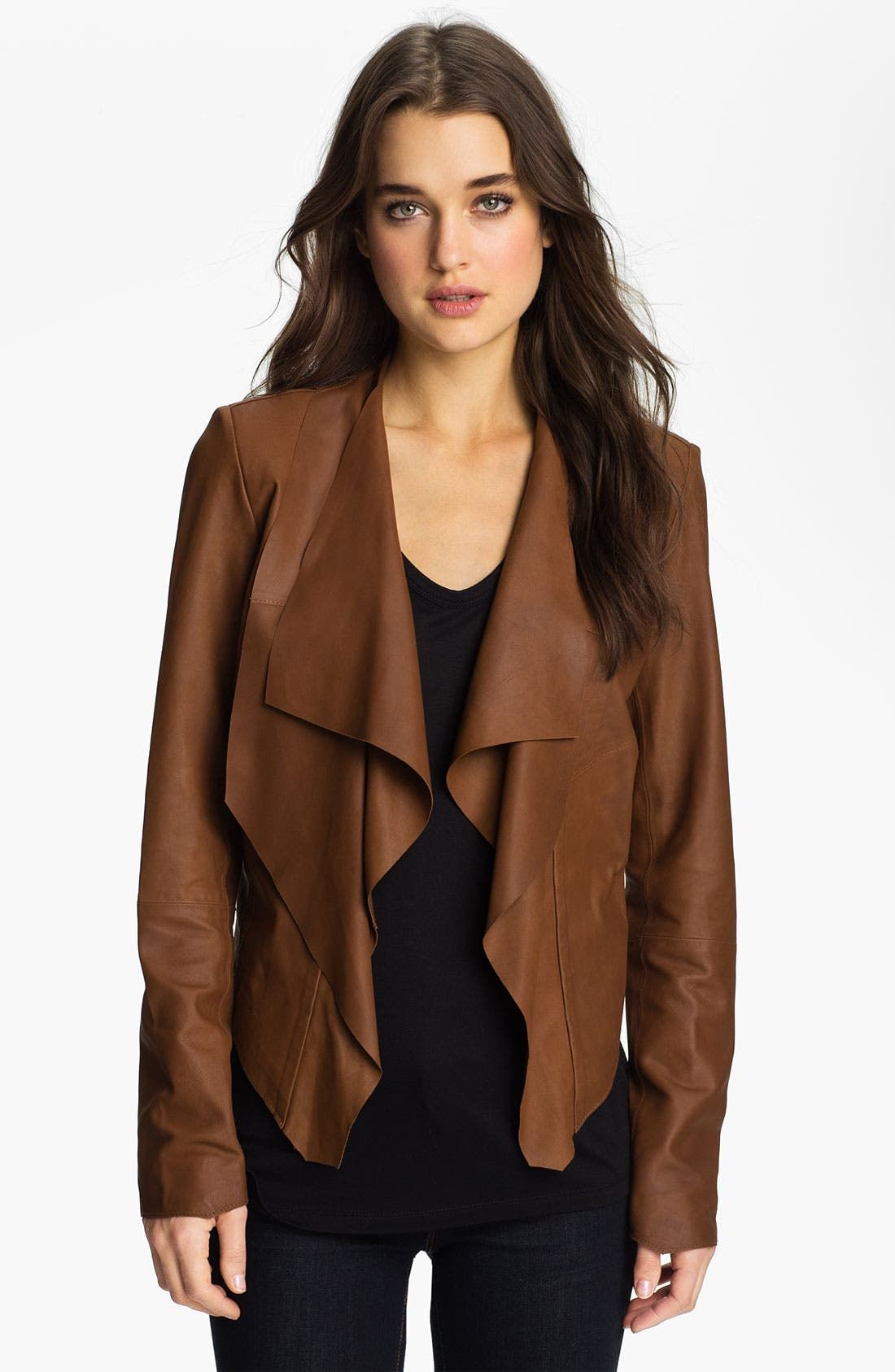 Main Image - Bod & Christensen Draped Collar Leather Jacket