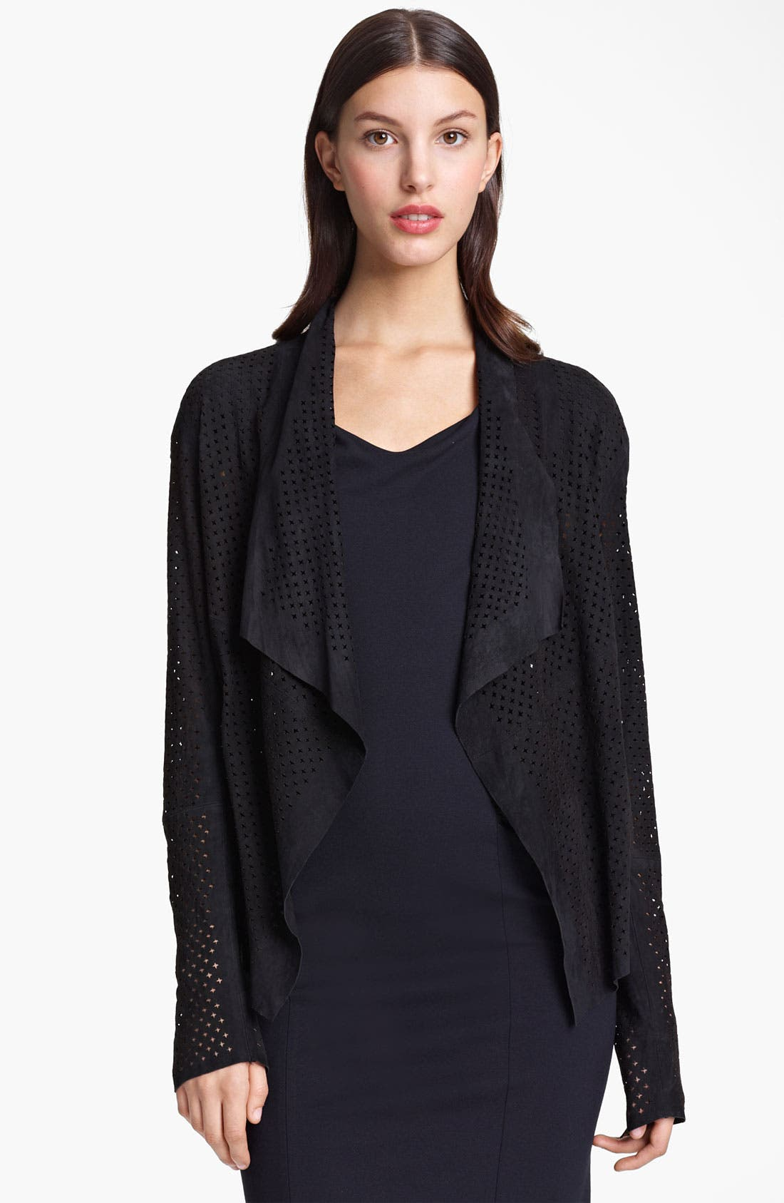 Main Image - Armani Collezioni Perforated Suede Jacket