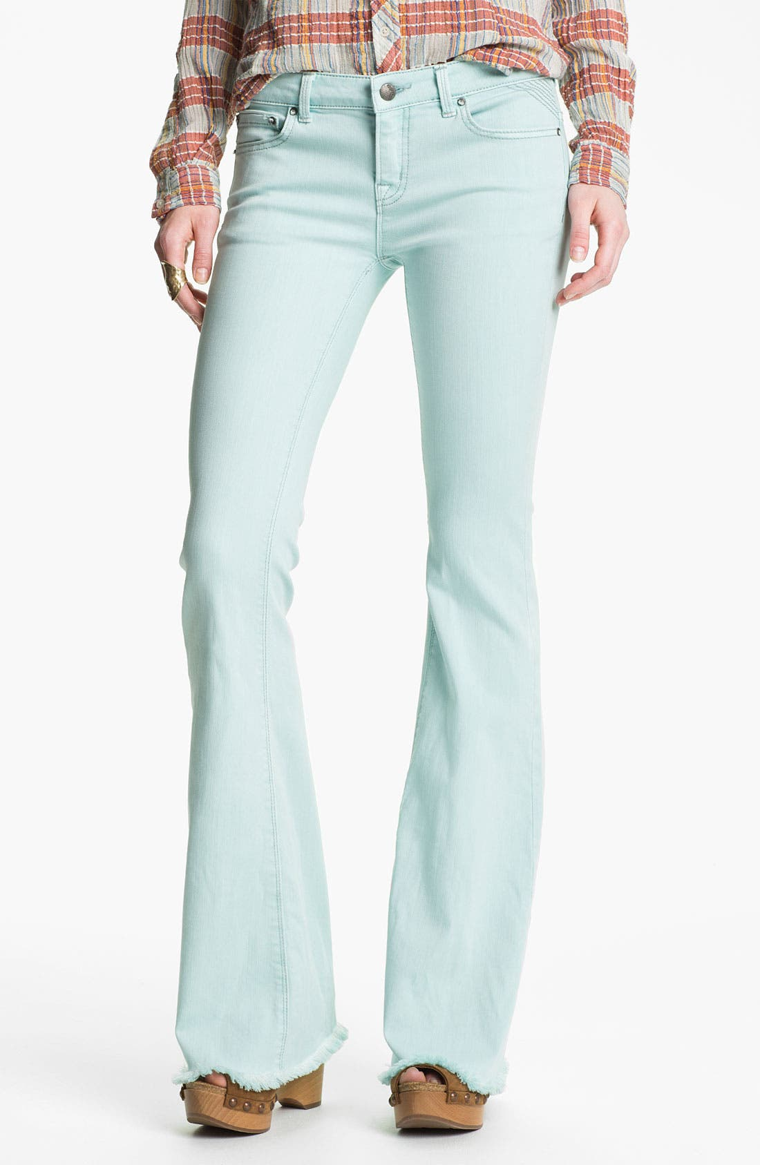 Alternate Image 1 Selected - Free People 'Millennium' Colored Denim Bootcut Jeans (Pale Blue)