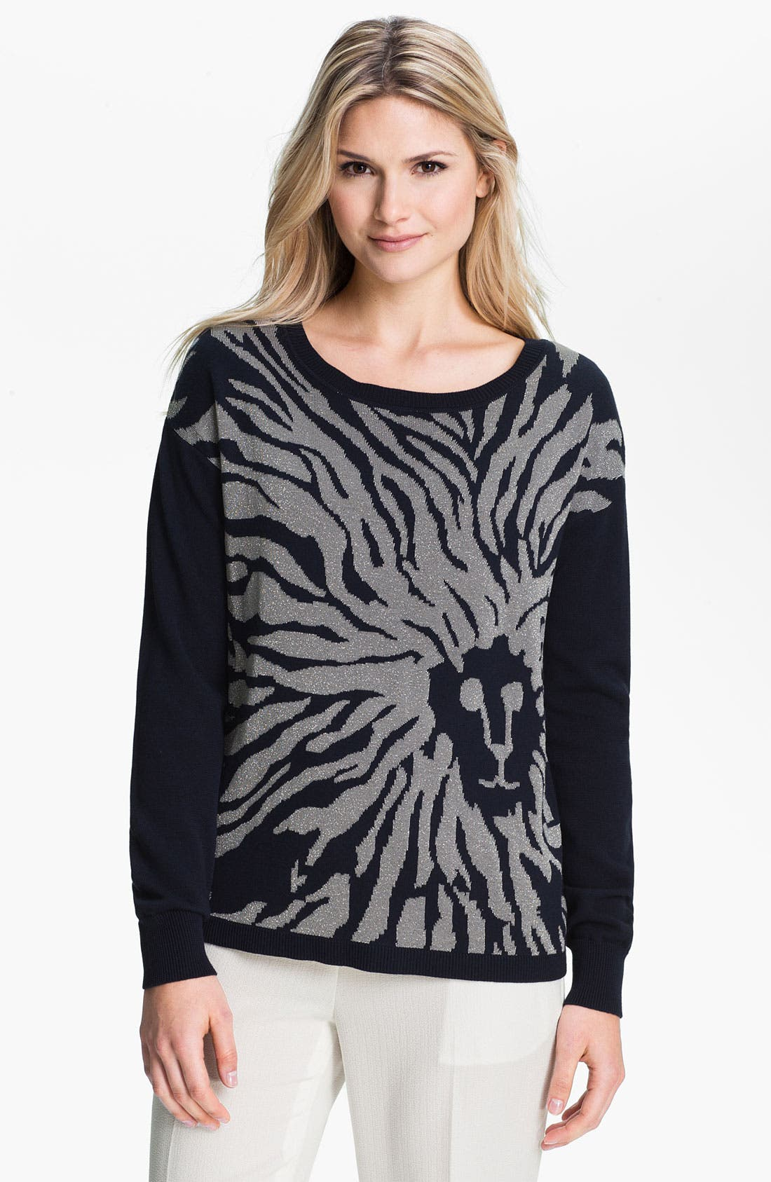 Alternate Image 1 Selected - Anne Klein Metallic Print Sweater