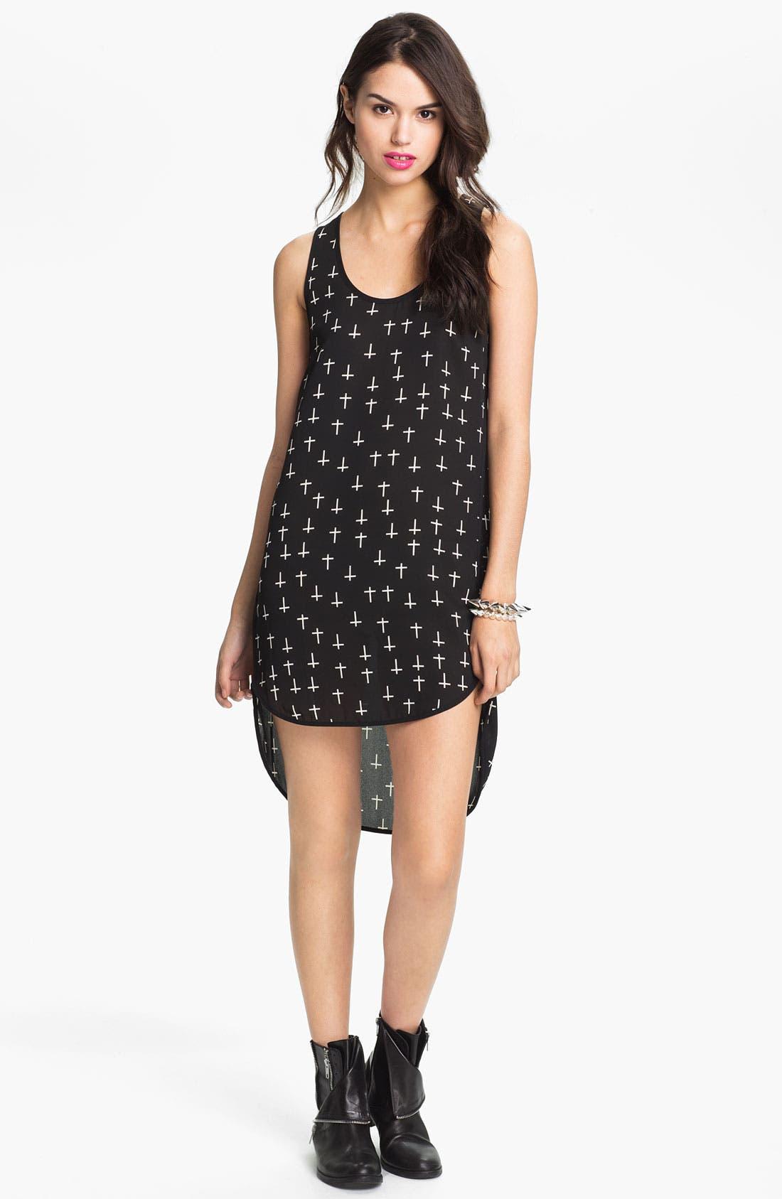 Main Image - Lush Print High/Low Tank Dress (Juniors)