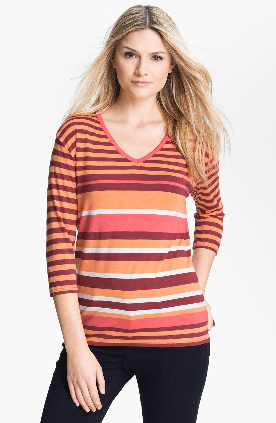 Main Image - Amber Sun Stripe Stretch Modal V-Neck Tee