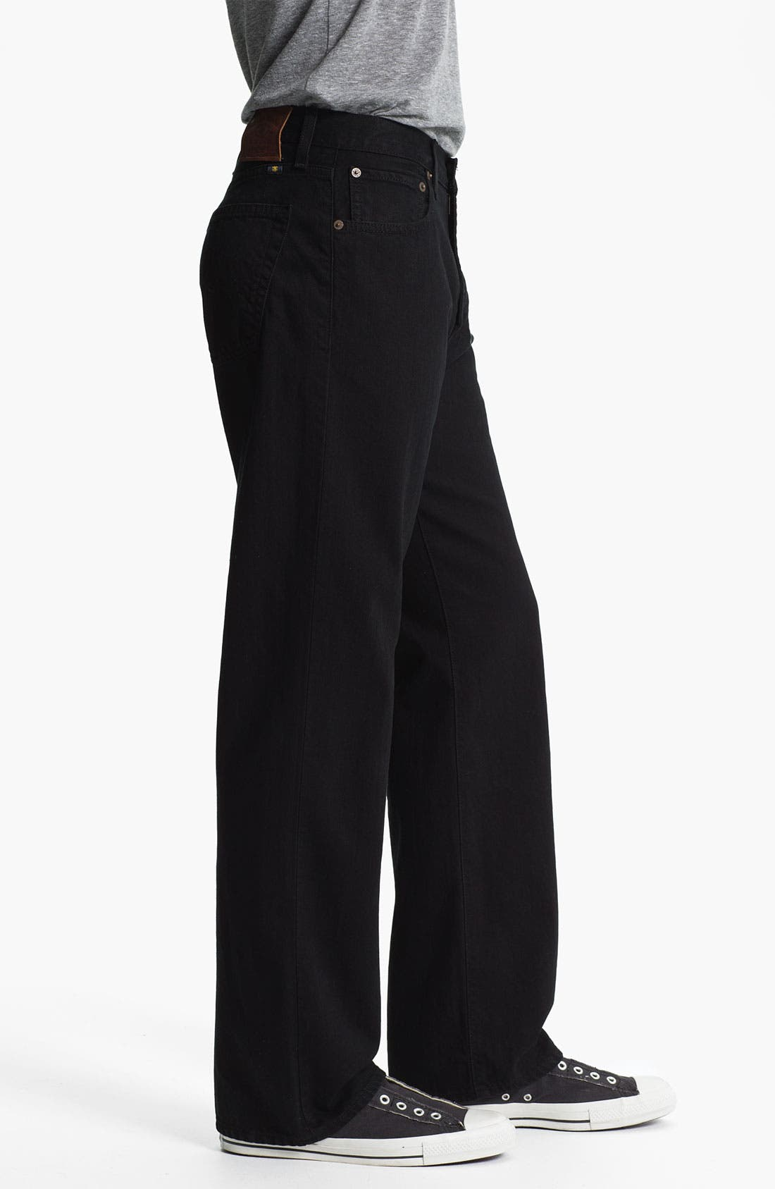 Alternate Image 3  - Lucky Brand '184' Relaxed Straight Leg Jeans (Jet Black)