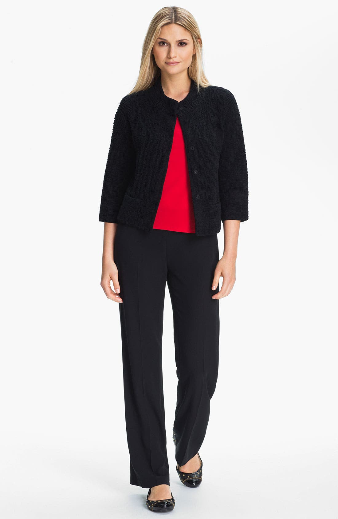 Alternate Image 3  - Eileen Fisher Silk Blend Jacquard Jacket (Petite)