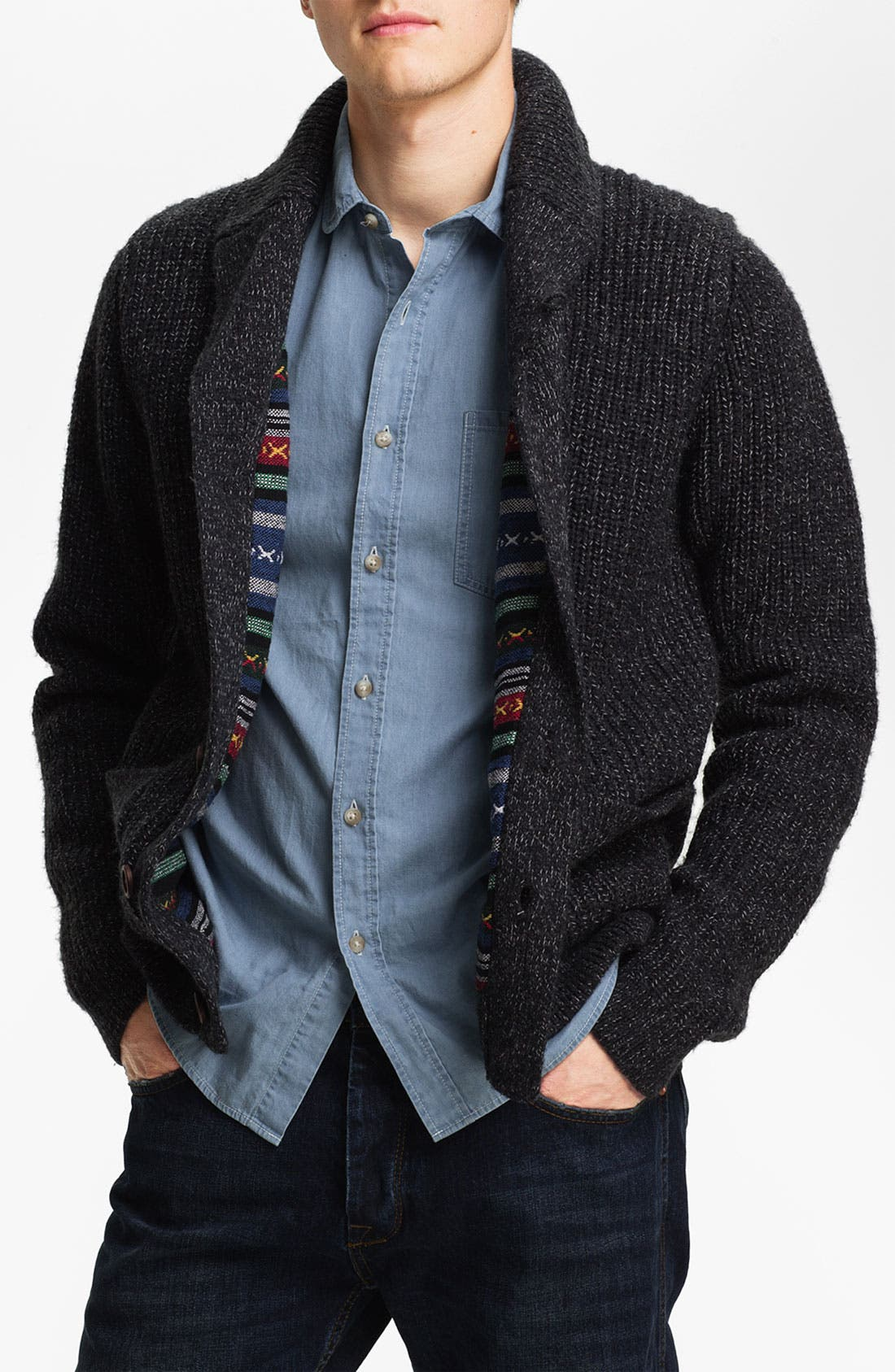 Alternate Image 1 Selected - Topman Lined Shawl Collar Sweater