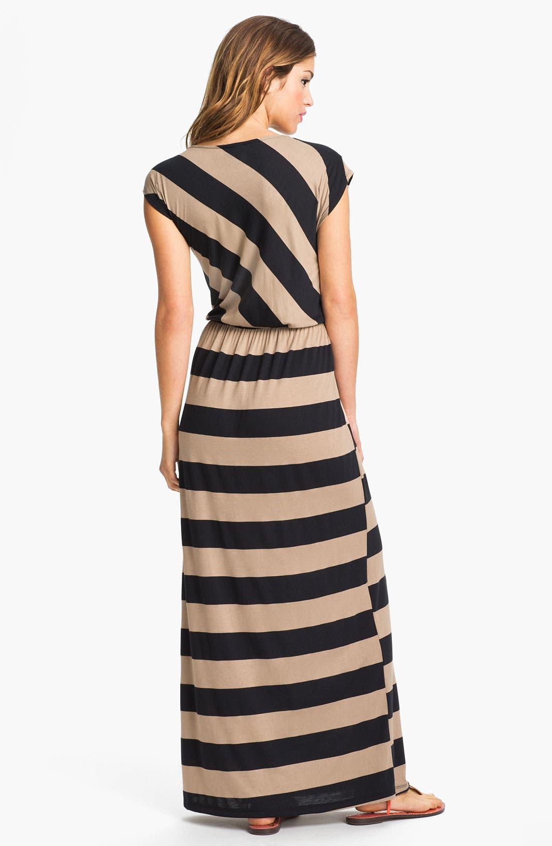 Alternate Image 2  - Bobeau Drape Neck Stripe Maxi Dress