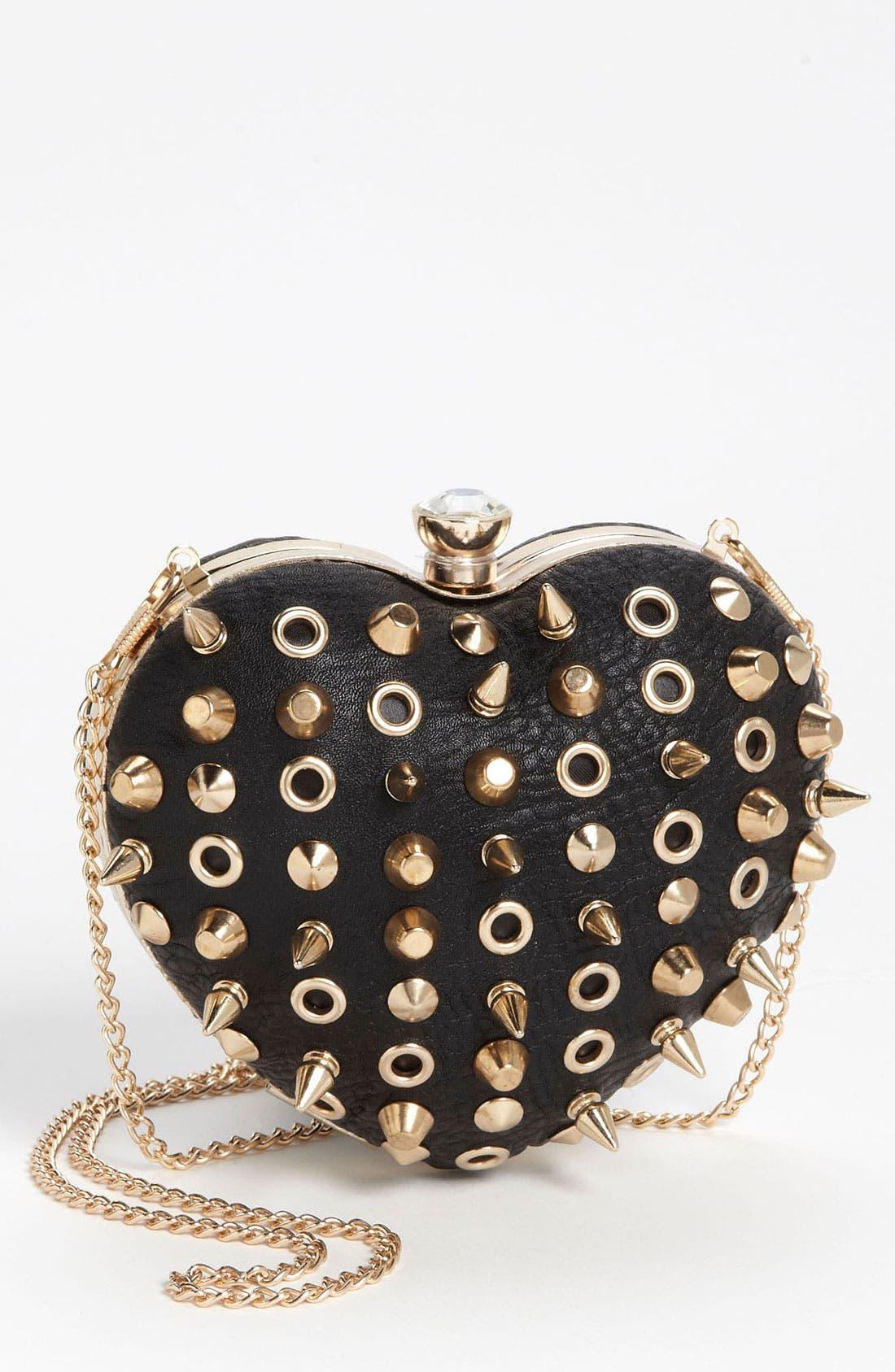 Main Image - Street Level Studded Heart Frame Bag