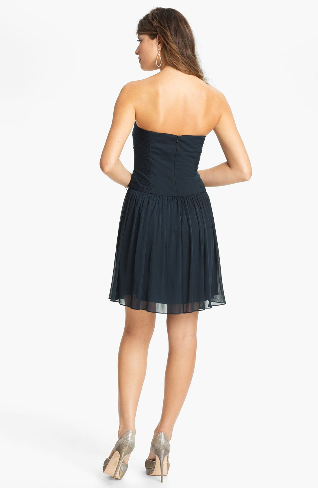 Alternate Image 2  - Max & Cleo Strapless Mesh Fit & Flare Dress