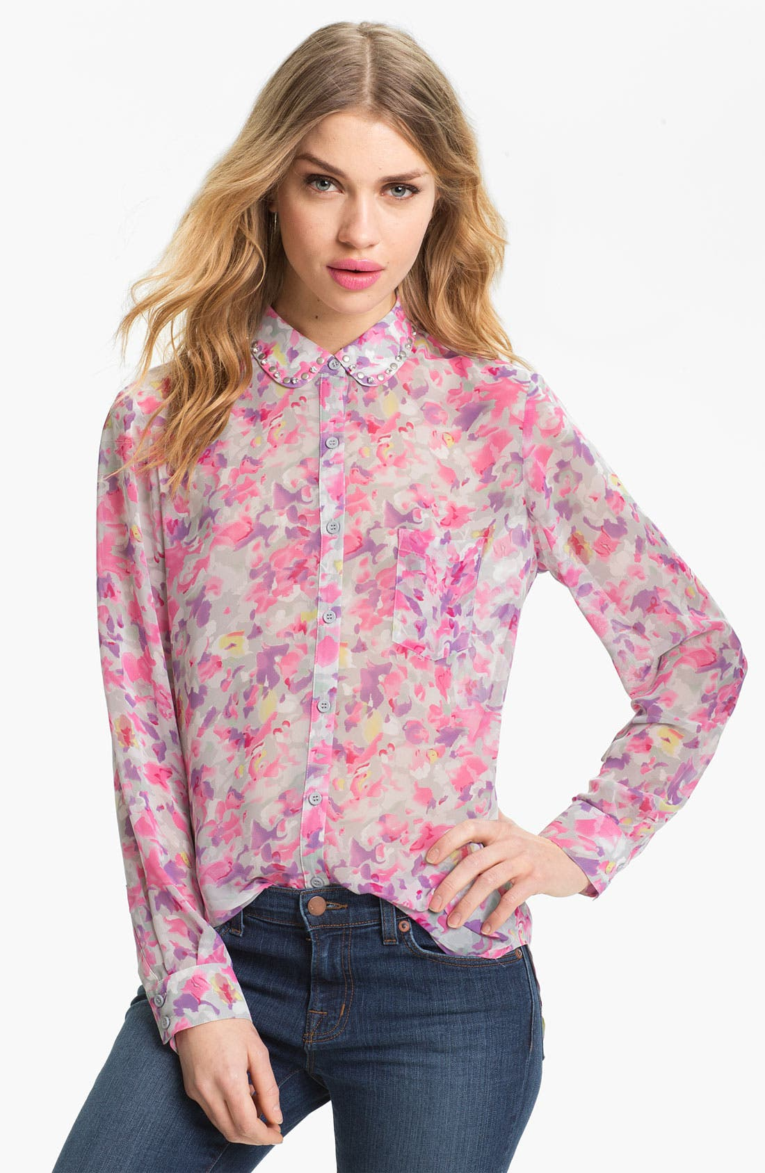 Main Image - Bellatrix Embellished Collar Print Chiffon Shirt