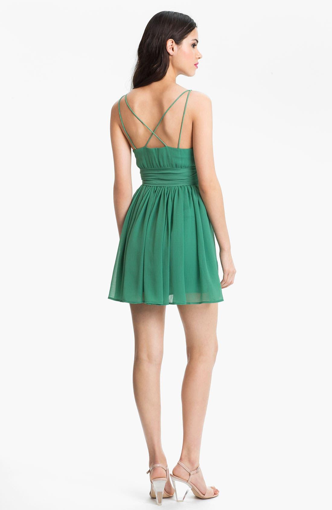 Alternate Image 2  - BB Dakota 'Edie' Spaghetti Strap Chiffon Dress