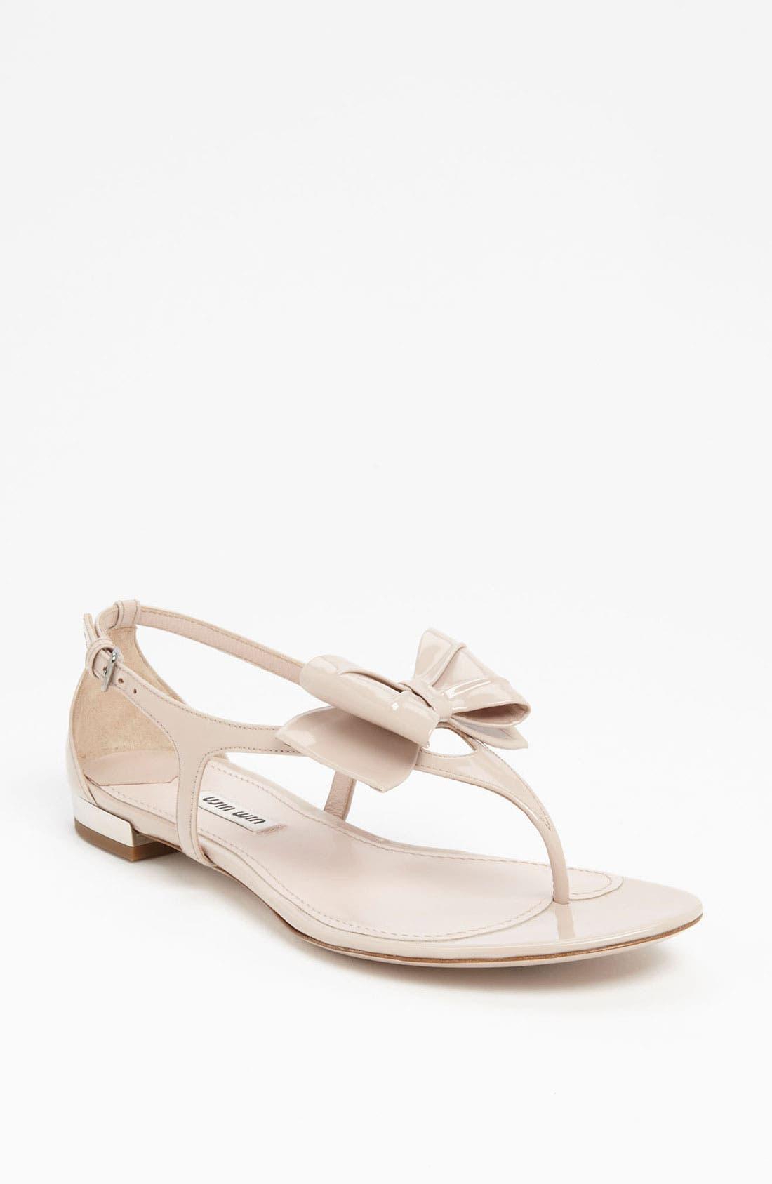 Alternate Image 1 Selected - Miu Miu T-Strap Bow Sandal