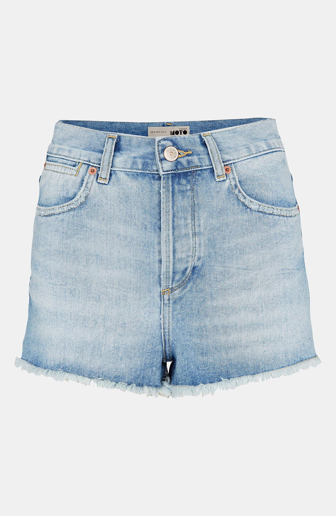 Main Image - Topshop Moto 'Ruthie' Cutoff Denim Shorts