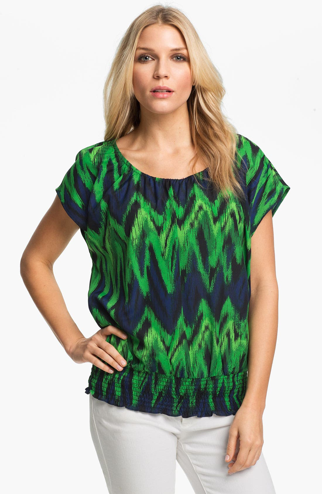 Alternate Image 1 Selected - MICHAEL Michael Kors Print Peasant Top