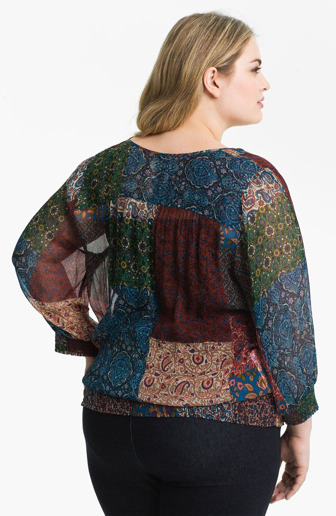Alternate Image 2  - Lucky Brand 'Palisades Stevie' Patchwork Print Top (Plus Size)