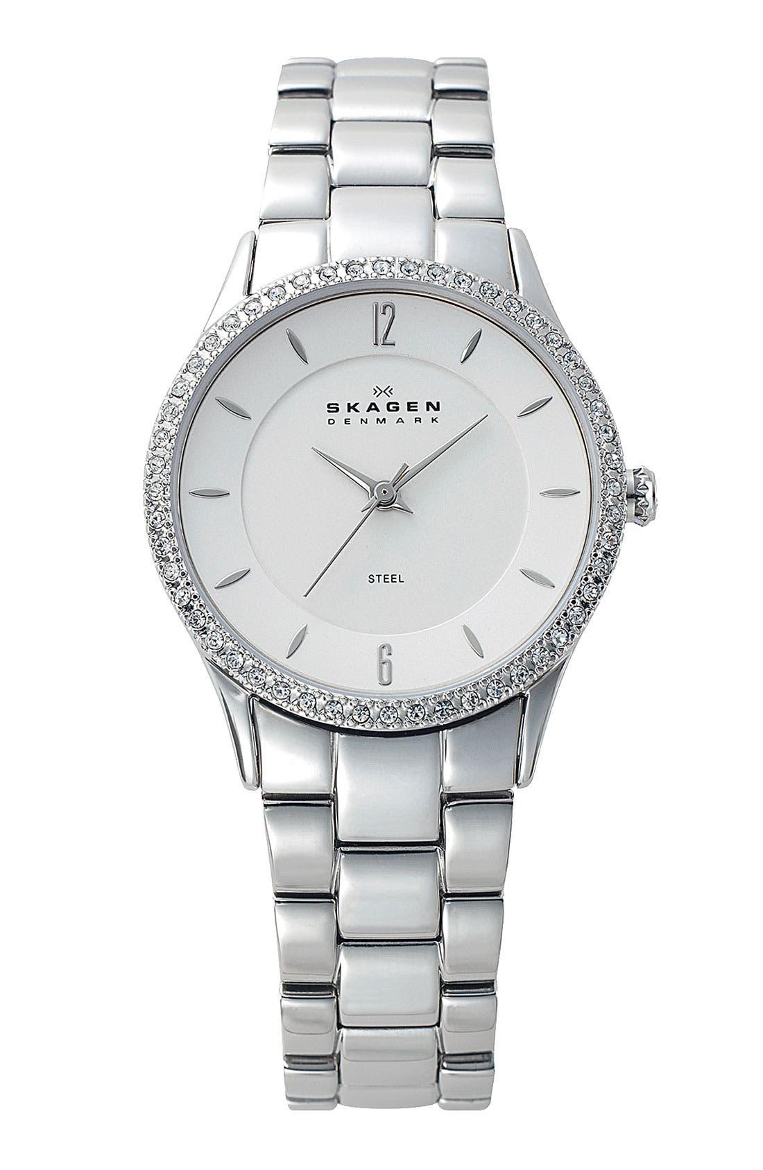 Main Image - Skagen 'Katja' Crystal Bezel Bracelet Watch, 30mm