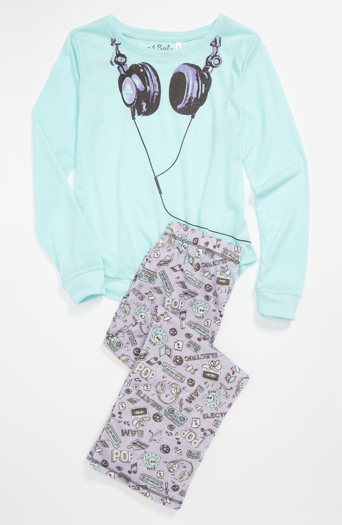 Alternate Image 1 Selected - PJ Salvage 'Headphones' Two Piece Pajamas (Little Girls & Big Girls)