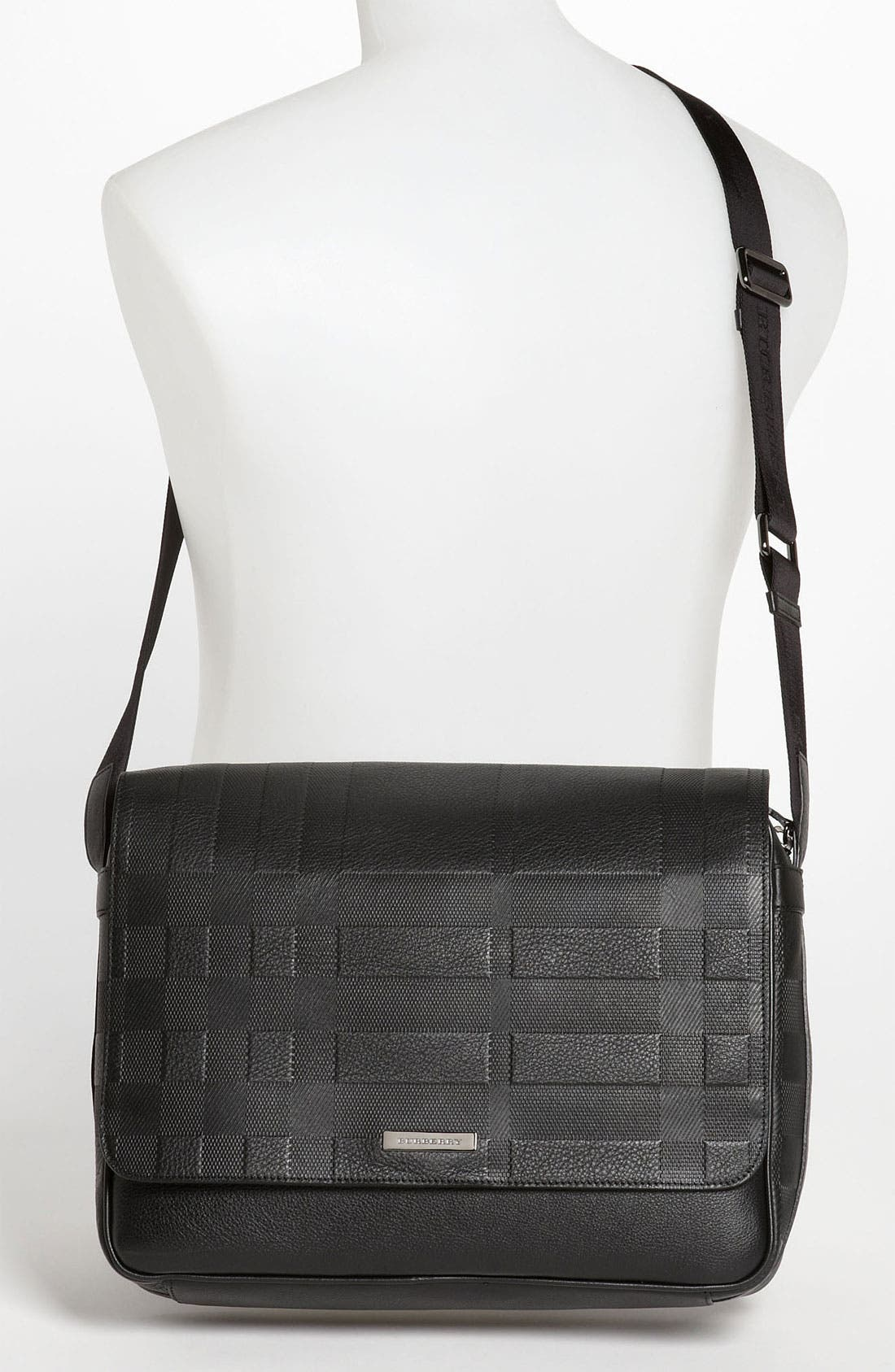 Alternate Image 4  - Burberry 'Emmett' Check Embossed Leather Messenger Bag