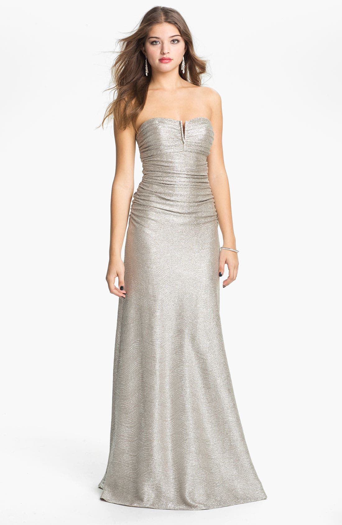 Main Image - Hailey by Adrianna Papell Metallic Jersey Gown (Online Exclusive)
