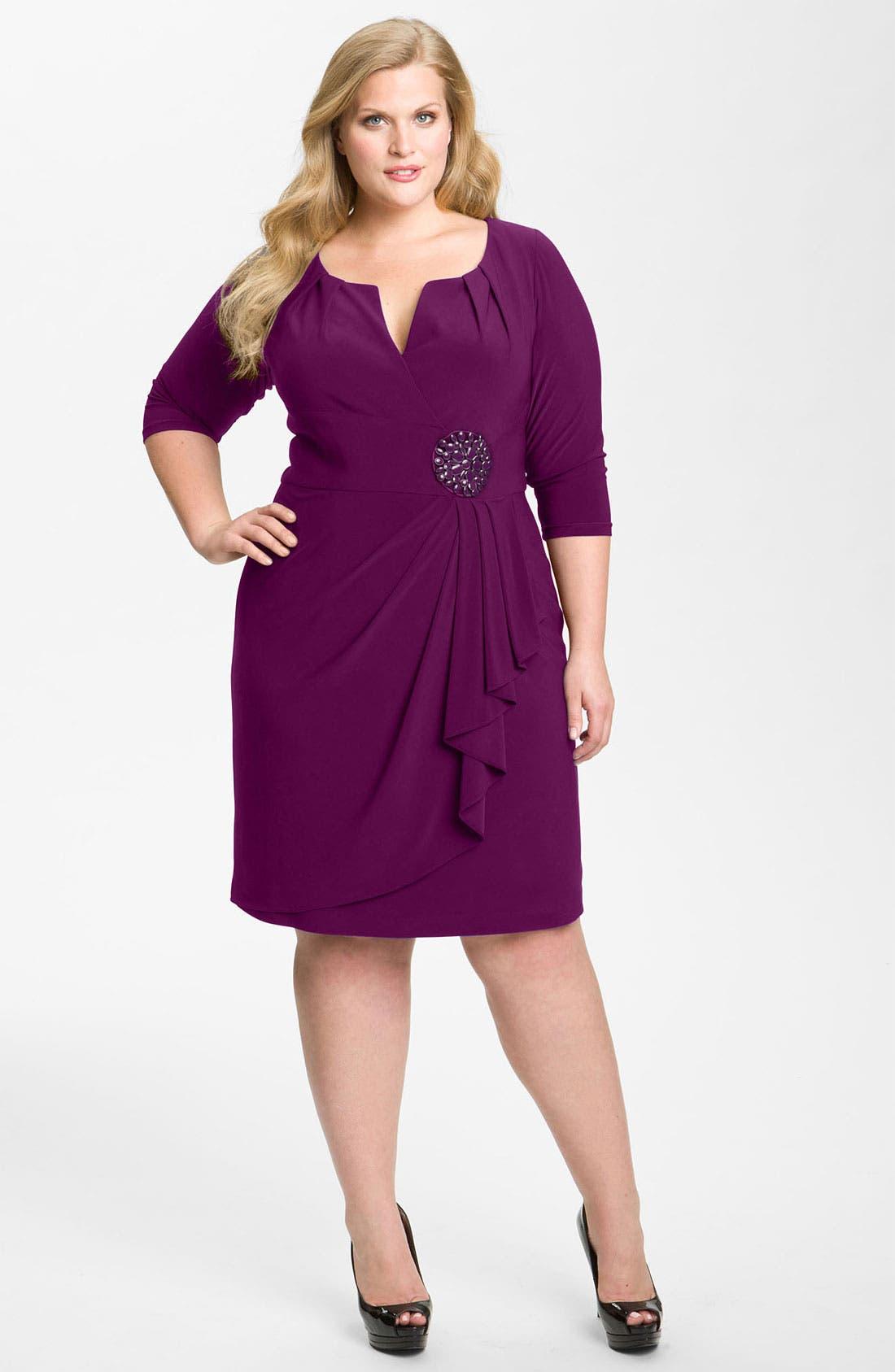 Main Image - Adrianna Papell Embellished Matte Jersey Sheath Dress (Plus)