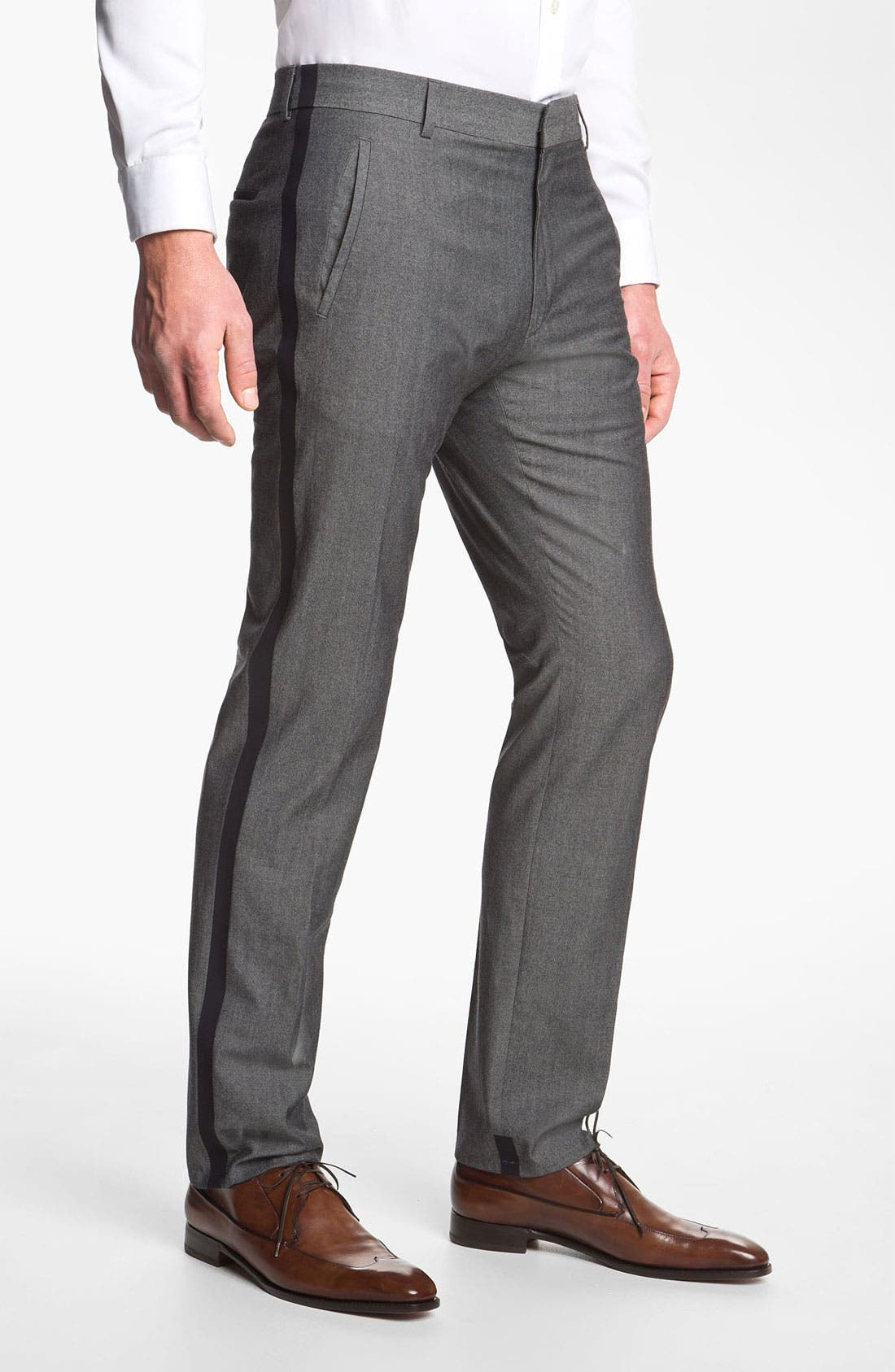 Main Image - HUGO 'Helbos' Flat Front Wool Blend Tuxedo Pants