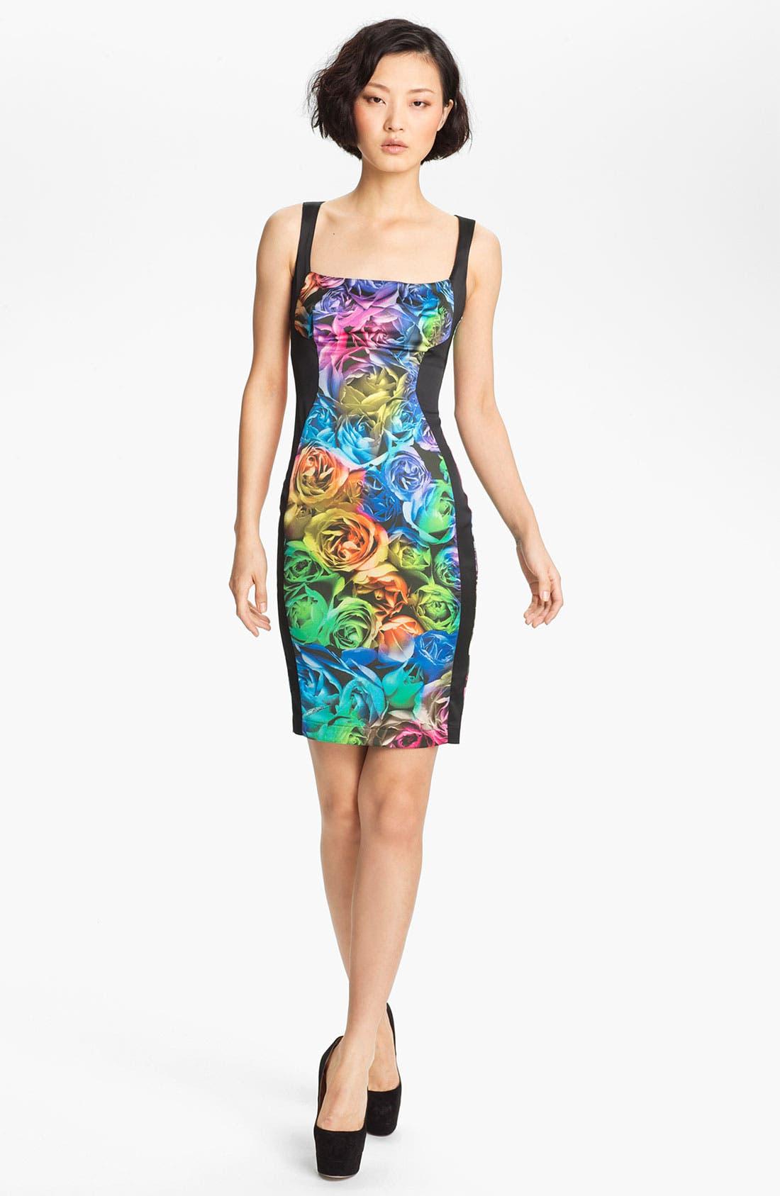 Alternate Image 1 Selected - Just Cavalli Rose Print Sheath Dress
